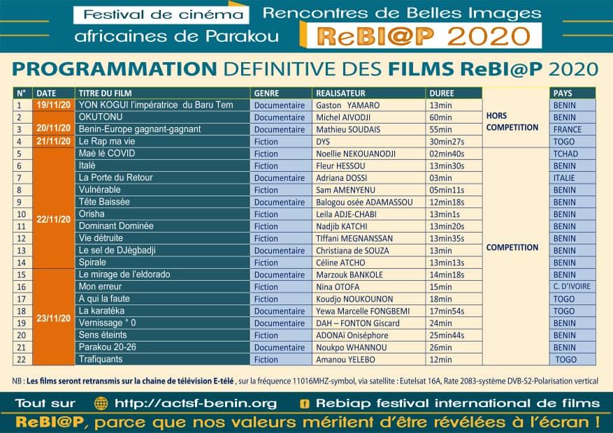 PROGRAMMATION DES FILMS ReBI@P 2020